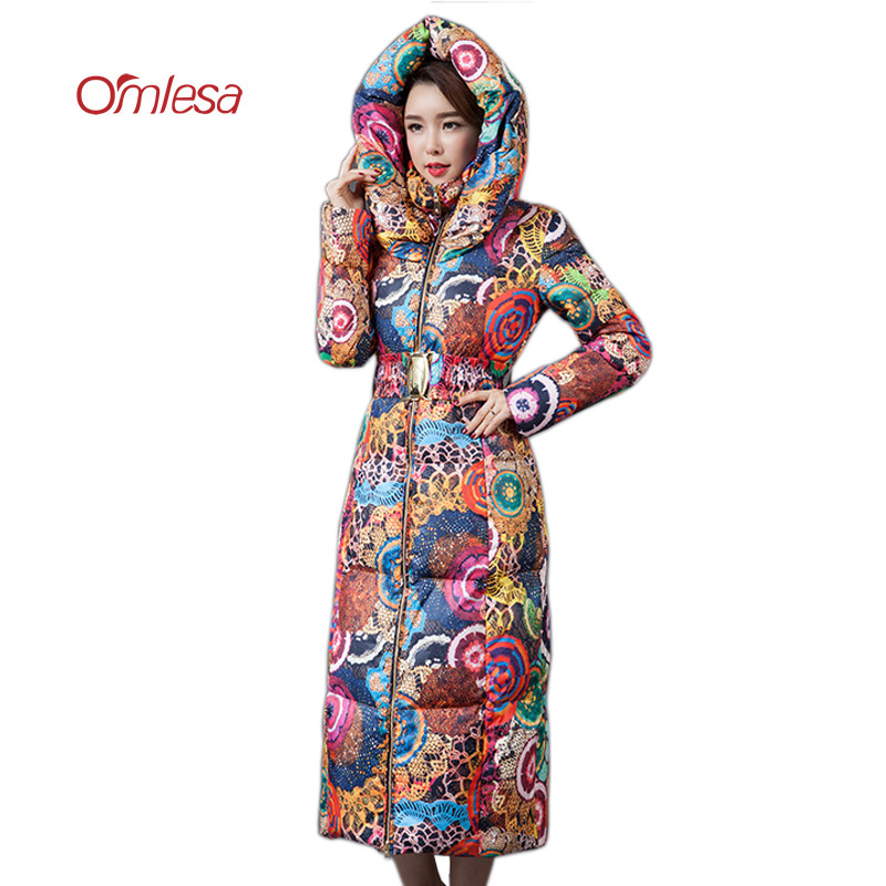 OMLESA Print X-Long Down Coat Women Fashion High Quality Duck Down Jacket Padded Thick Parka Ladies Slim Snow Ruffle Coat YQ324