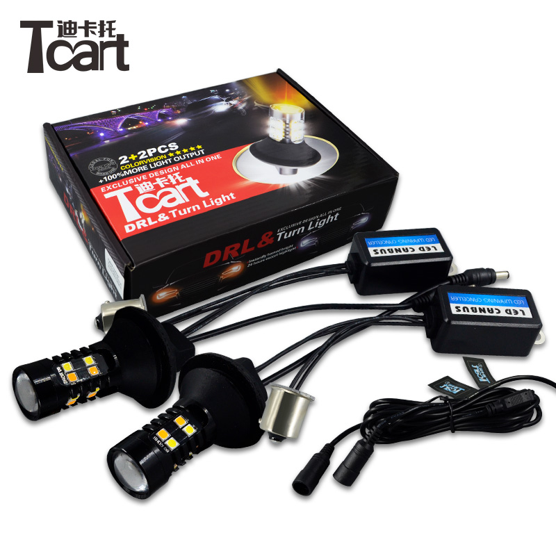 Tcart 1Set Auto BAU15S PY21W Signal Lamps Car LED White DRL Daytime Running Lights Yellow Turn Signals For Hyundai Santa Fe 2013 tcart 1set car drl daytime running lights turn signals auto led bulbs white golden lamps 1157 for hyundai genesis coupe 2014