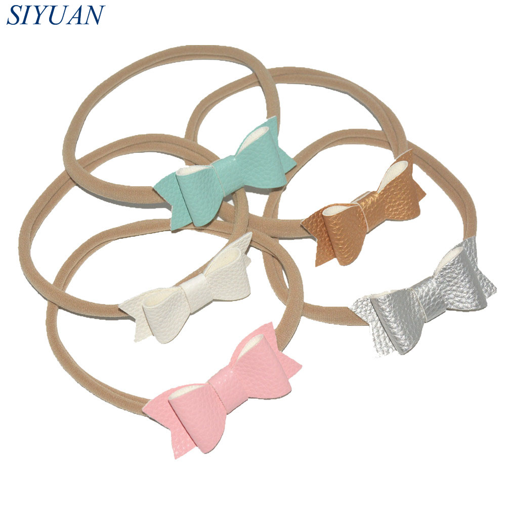 3pcs/lot On Sale Nylon Elastic Hairbands with PU Leather Texture Faux Leather Bow Girl Headbands Hair Accessories FD241