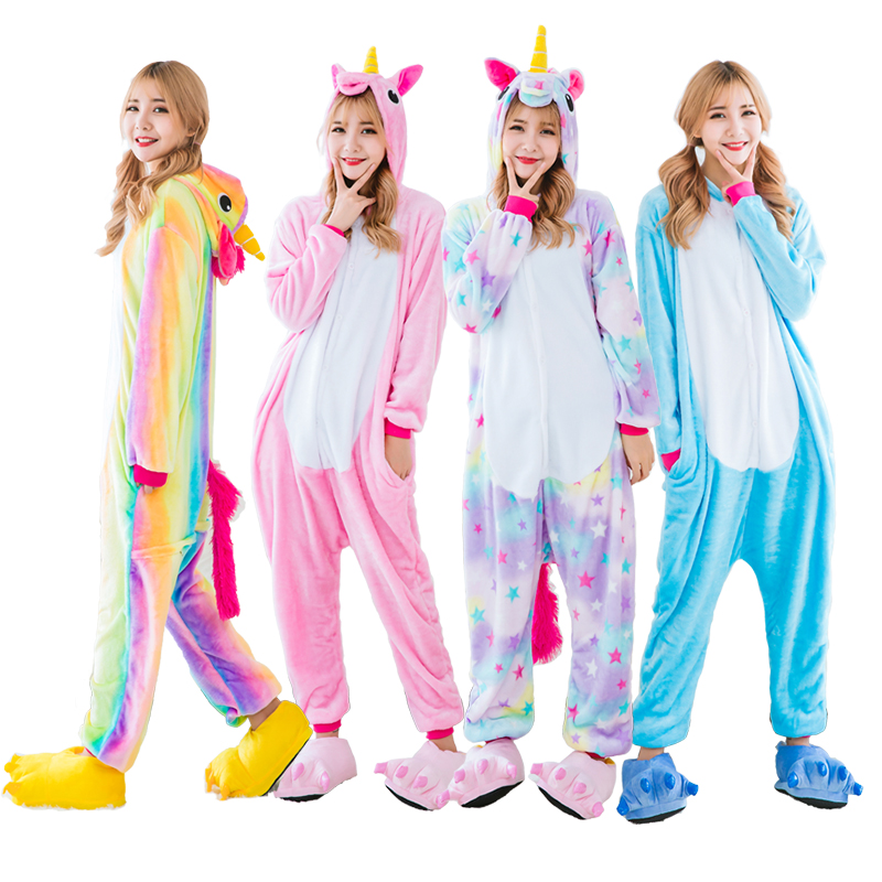 2019 Adults Animal   Pajamas     Sets   Winter Flannel Cartoon Sleepwear Unicorn   Pajamas   Kigurumi Unicornio panda   Pajamas   wholesale