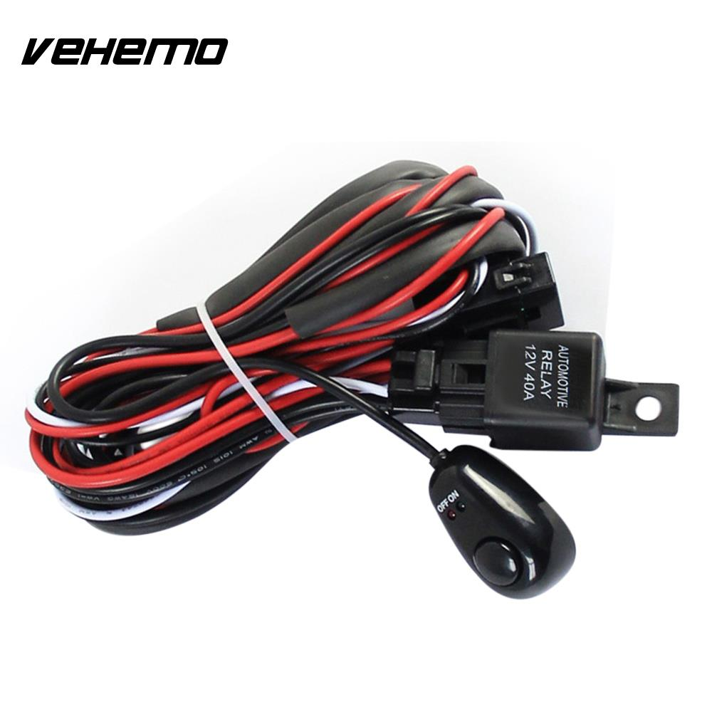 12V 40A Universal Professional Wiring Harness Kit LED Work Driving Light Car Tuning Switch Fog Light Line Set Fuse Relay Auto