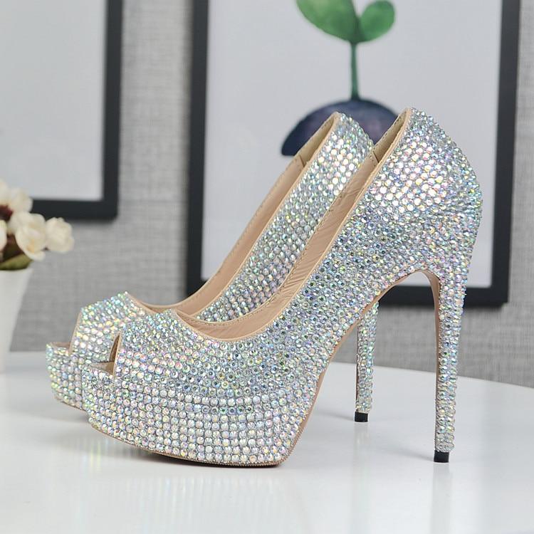 Alto Cm Heel Novia Dedo 12cm Imitación Nueva De Zapatos Ab Abierto Bombas 12 Del Peep Diamantes Llegada Pie Mujer Boda Toe Moda qn4Y0