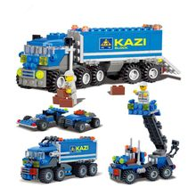 Deformable Transport truck Car Boat Building model kits legoings city figures children Toys(China)