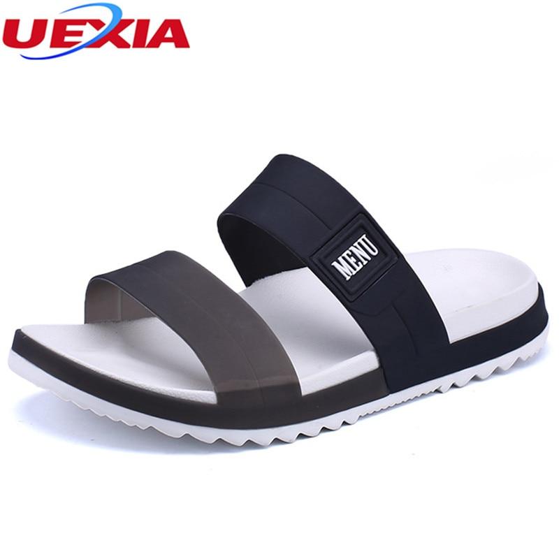 UEXIA Summer Beach Men Slippers Casual Shoes Double Buckle Man Slip on Flip Flops Flats Camouflage Flip Flop Indoor & Outdoor