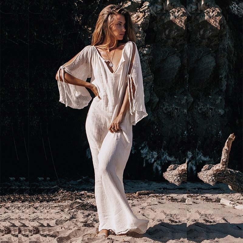 4c3bb5fd604b78 Bellflowr Elegant Böhmischen Strand Kleid Frauen 2019 Sommer Boheme Lose Maxi  Boho Kleider Mädchen Vintage Baumwolle Sexy Verband Kleid