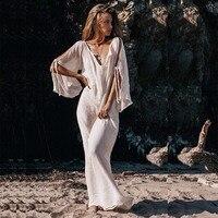 Bohemian Dress Women 2019 Summer Long Sleeve Loose Dress V Collar Bow Sexy Beach Dress Vestidos Pleated Vintage Cotton Dresses