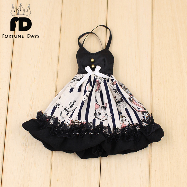 Free shipping suitable blyth doll icy doll black dress Cute animal print