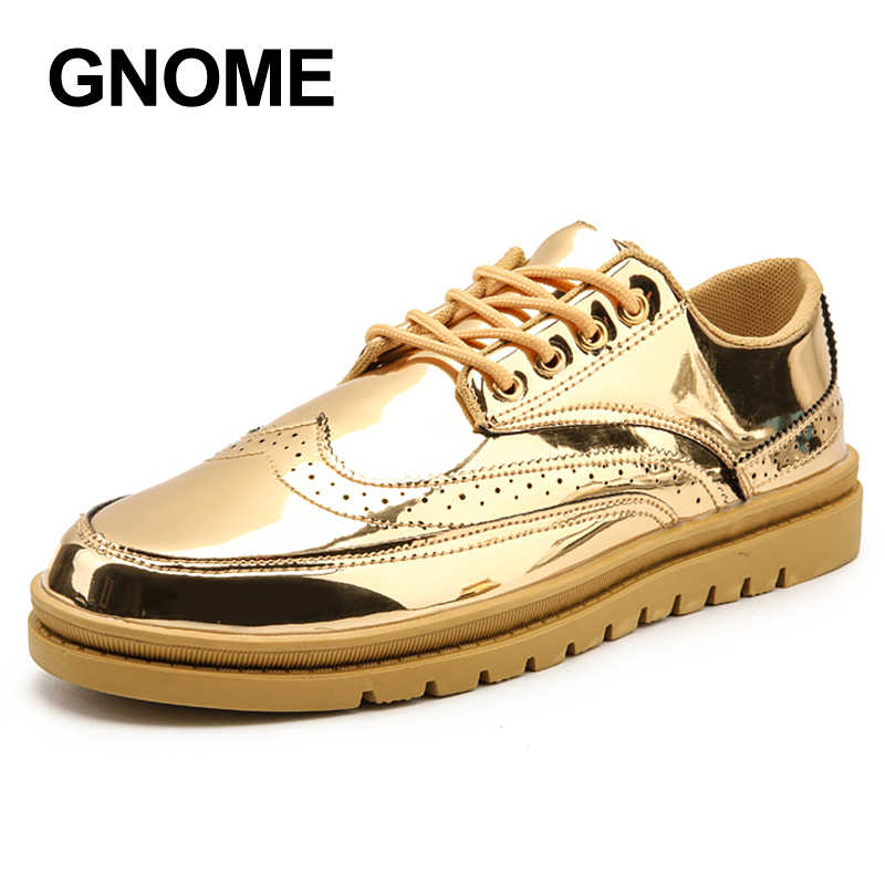 GNOME Luxury Brand Bling Leather Casual Shoes Men Gold Silver Brogues Men  Shoes Lace Up Adult 27d40e314169