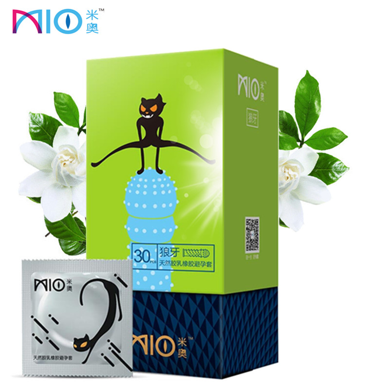 MIO Condoms for Men 3D G-spot Ribbed Natural Latex Stimulate Big Granule Spike Contraceptive Condom Sex Shopping Adult Sex Toys image