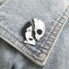 The Skeleton Couple Pins Two face Women Skull Broken Mask Lapel Pin Goth Punk Badges Denim Jackets Backpack Enamel Pins Brooches(China)