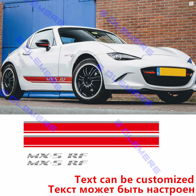 Cnoricarc body side skirt sticker sport styling diy vinyl decal car customized stickers for mazda mx