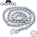 GAGAFEEL 100% Genuine 925 Sterling Silver Men Jewelry Buddha Beads Necklace Thick Long Mens Chain 20inch 22inch 24inch