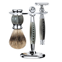 ZY 3pcs Double Edge Safety Shaving Razor Open Razors Kit For Man + Face Cleaning Shaving Brush Badger Hair+Stand Holder
