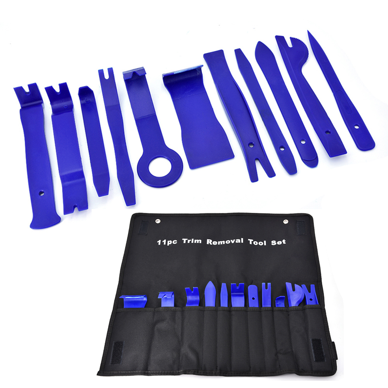 11Pcs/set Car Plastic Trim Removal Tool Audio Door Panel Open Molding Set Kit Pouch Pry Tool Auto Interior Hand Tools