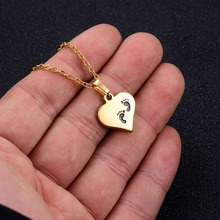 Annayoyo Stainless steel heart-shaped footprints couple stainless gold pendant necklace female charm  jewelry