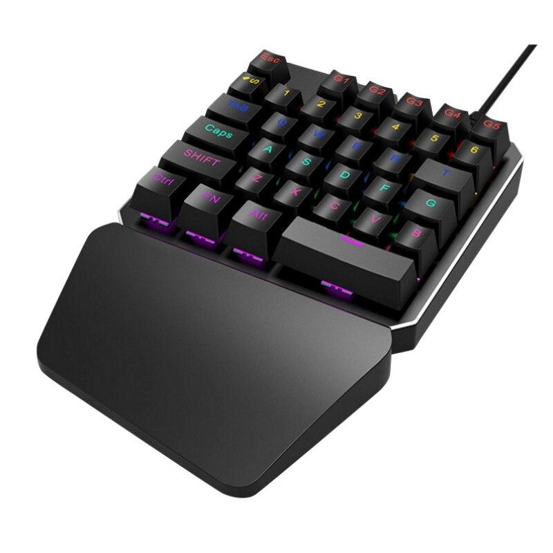 Wired Professional Mini Gaming Keyboard T9 Pro 7 Color Backlit Single Hand 35-keys Ergonomic Keypad ...