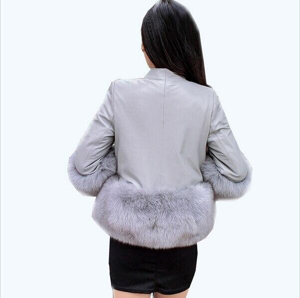 Gratuite Taille Mode Pu Fourrure Élégante Dame Couleur Nouvelle Noir Faux Livraison gris Solide xxxl De Cuir Luxe 2016 rose S Chaud Manteau En Veste kaki Épaississent 5q0xwH