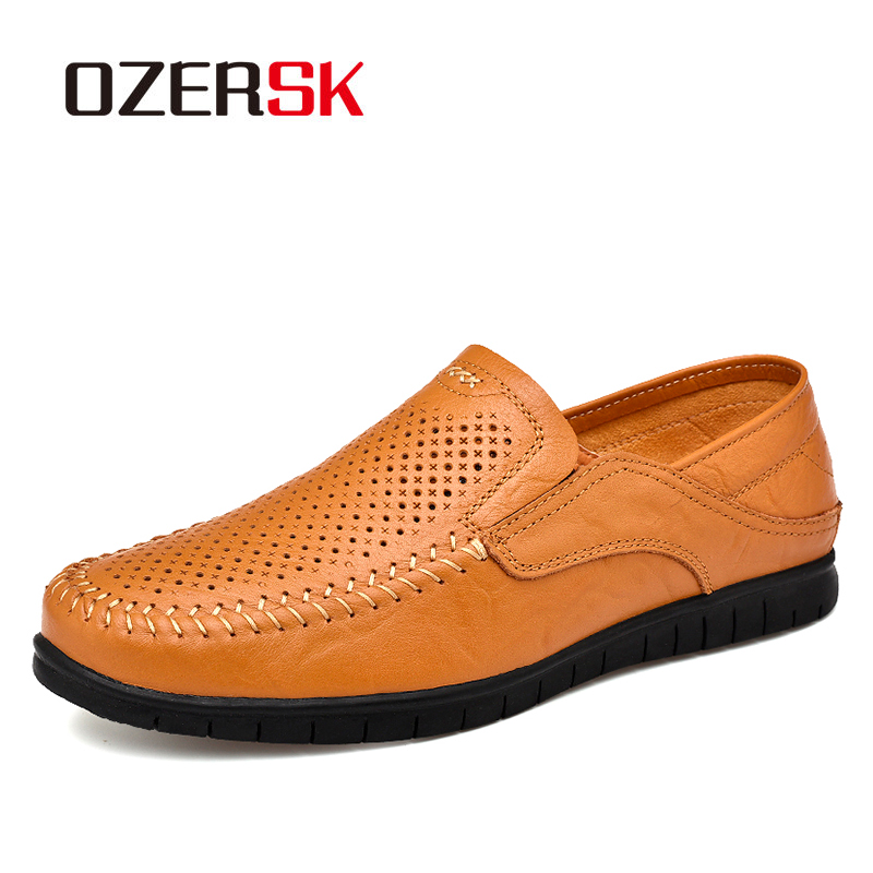 OZERSK Fashion Men Genuine Leather Shoes Male Dress Wedding Classic Business Party Office Wedding Loafers Men's Flats Shoes