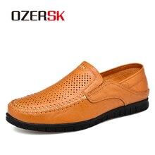 OZERSK moda erkek hakiki deri ayakkabı erkek elbise düğün klasik iş parti ofis düğün loaferlar erkek Flats ayakkabı
