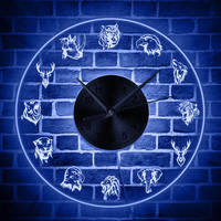 Forest Wildlife Animals Wall Clock with LED Backlight Wild Animals Portrait LED Wall Light Home Decor Hanging Watch Timepieces