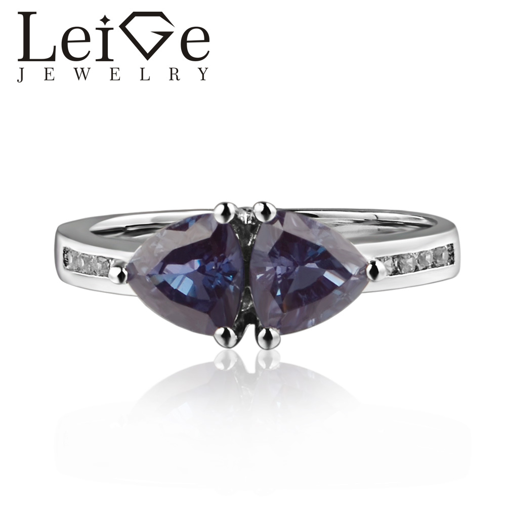 925 Silver Lab Alexandrite Ring Trillion Cut Prong Setting Color Changing Gemstone Engagement Rings for Women Romantic Gifts925 Silver Lab Alexandrite Ring Trillion Cut Prong Setting Color Changing Gemstone Engagement Rings for Women Romantic Gifts