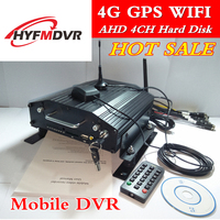 4G remote monitoring host HDD SD card combo car dvr GPS WIFI 4 channel mobile dvr support NTSC/PAL standard