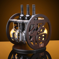 Creative 29x30x39cm Antique Curio Shelf Wood Wheel Wine Rack Furniture Vintage Decorative Champagne Stemware Bottle Glass