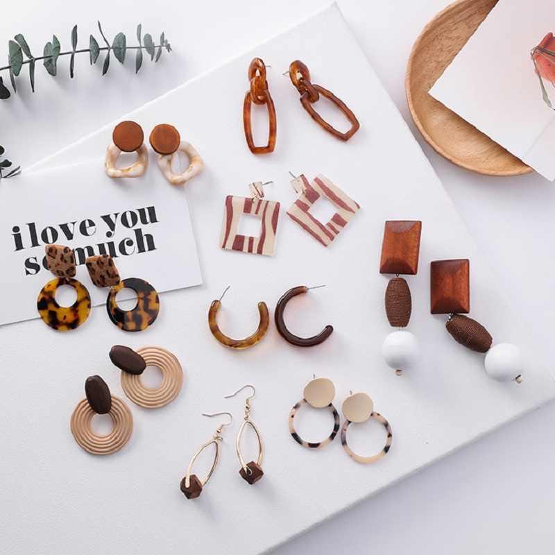 2019 Fashion Kura-kura Warna Macan Tutul Akrilik Asam Asetat Lembar Geometris Lingkaran Bentuk C Resin Panjang Anting-Anting untuk Wanita Perhiasan