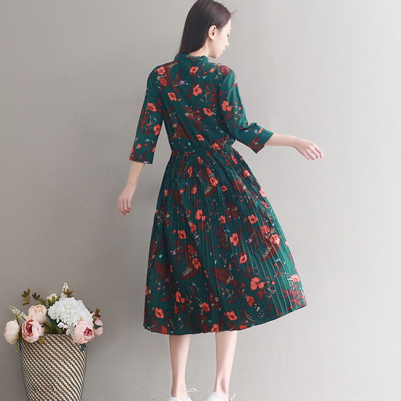 93be1dd0210 ... 2018 new Chiffon Dress Women Casual Vintage Green Flower Print Three  Quarter Sleeve Retro Spring Summer ...