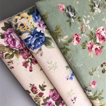 Floral Printed Linen Cotton Fabric Patchwork Sewing Canvas Material For Handmade Textile Pillow Width 150cm
