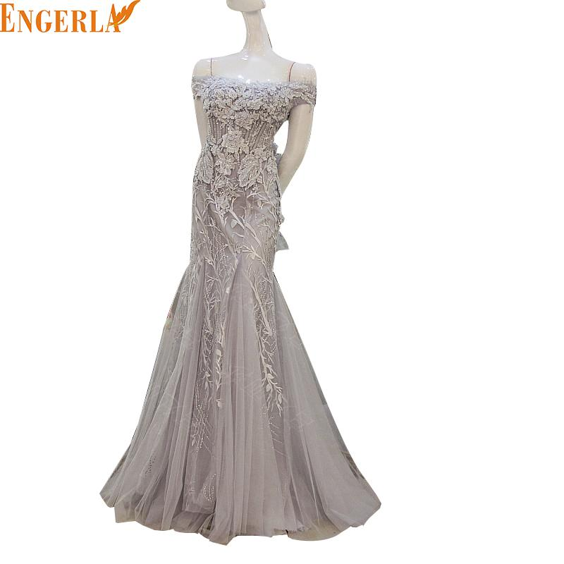 2016 Winter New Silver Gray Boat Neck Korean A Line Mermaid Evening Gowns For Wedding