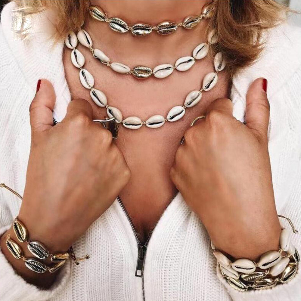 Jewelry Gifts Summer Shell Necklace Handmade Bib Choker Beach Seashell Chain