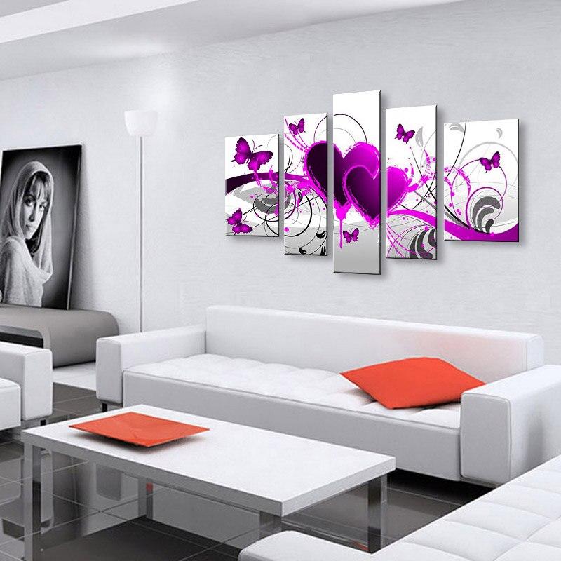 Riesige 5 Panel Malerei Schlafzimmer Hand Bemalte Leinwand Ölgemälde ...