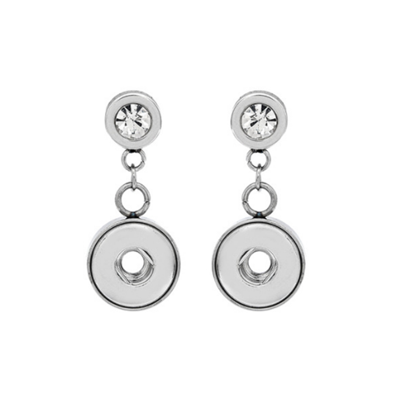 5 Pairs Crystal Stainless Steel Button Snap Earrings 12mm Snap Button Earring Jewelry image