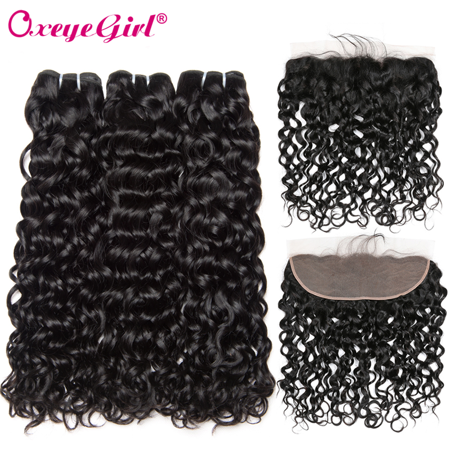 Water Wave Bundles With Frontal Closure Malaysian Hair Ear To Ear Lace Frontal With Bundles 100