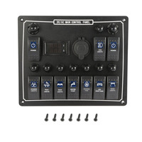10 Gang Waterproof Car Auto Boat Marine LED AC/DC Rocker Switch Panel Dual Power Control Overload Protection 15A DC Output Top