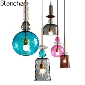 Nordic Stained Glass Pendant Lights Led Loft Modern Hanging Lamp Candy Luminaire for Dining Room Kitchen Home Decor Fixtures E27 - DISCOUNT ITEM  21% OFF All Category