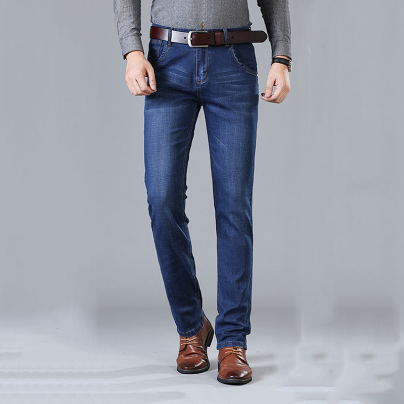 HCXY Brand 2019 New Men's High Quality Jeans Business Casual Cotton Stretch Slim Jeans Classic Trousers Denim Pants Male Size 40