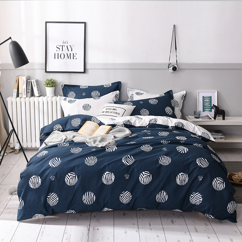 Blue Flowers Bedding Sets 3/4pcs Geometric Pattern Bed Linen Duvet Cover Bed Sheet/fitted Sheet  Pillowcases Cover Set