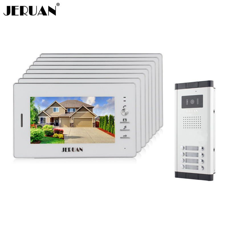 JERUAN Wholesale Apartment 7 Video Intercom Door Phone Entry System 8 Monitors + 1 Doorbell Camera for IN Stock FREE SHIPPING wired 7 video door phone intercom doorbell entry system 2 monitors villa house waterproof camera in stock free shipping