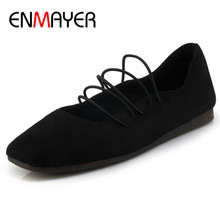 ENMAYER Elastic Bamd Shoes Woman Mary Janes Flats in Womens Plus Size 34-44 Black Round Toe Shallow Casual