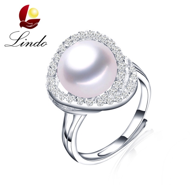 Lindo Classic 925 Sterling Silver Wedding Rings 11 12mm Big Pearl ...