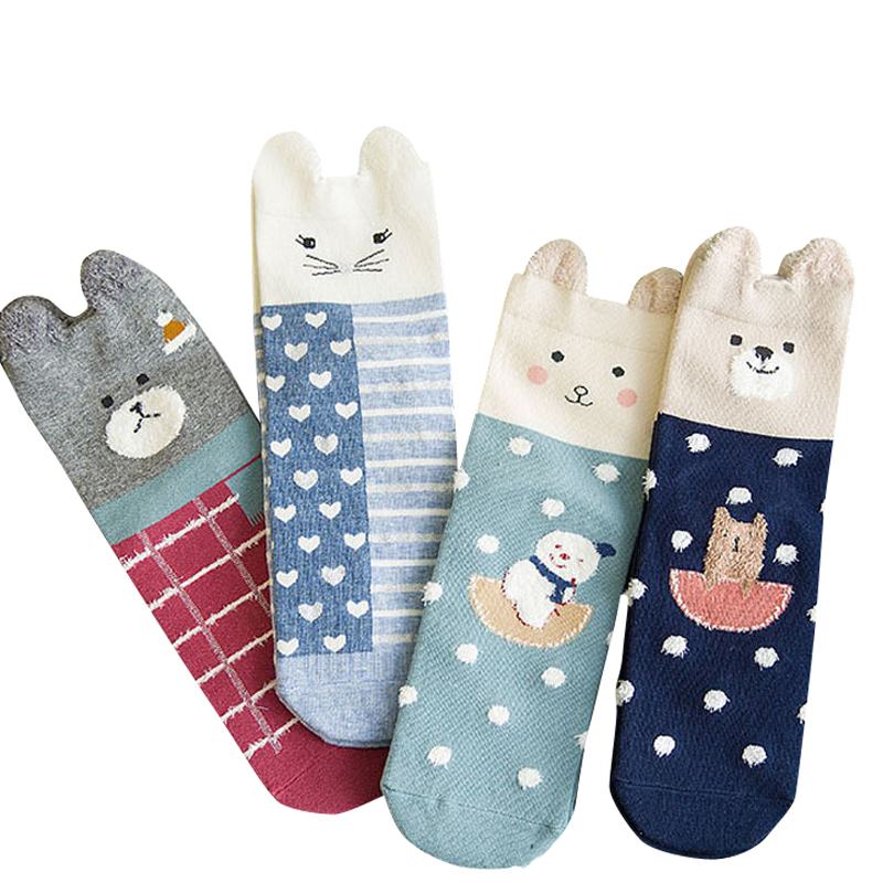 8d5fac629a5 BXMAN BRAND New Spring Autumn Women Animals Cartoon Cute Bear Cotton Socks-in  Socks from Women s Clothing   Accessories
