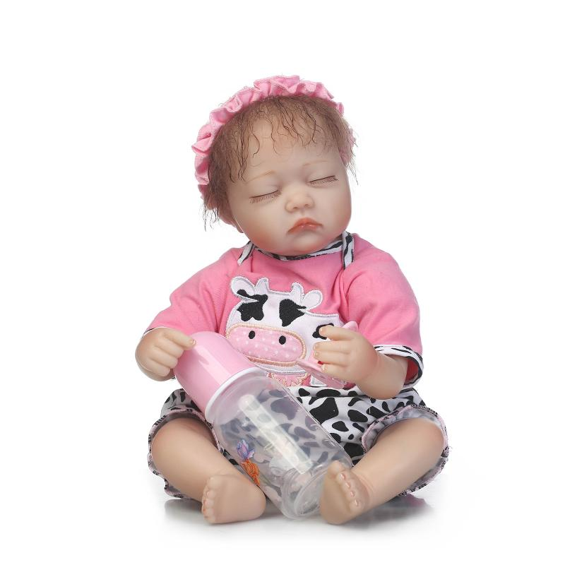 Nicery 18inch 45cm Reborn Baby Doll Magnetic Mouth Soft Silicone Lifelike Girl Toy Gift for Children Christmas White Black Cows [mmmaww] christmas costume clothes for 18 45cm american girl doll santa sets with hat for alexander doll baby girl gift toy