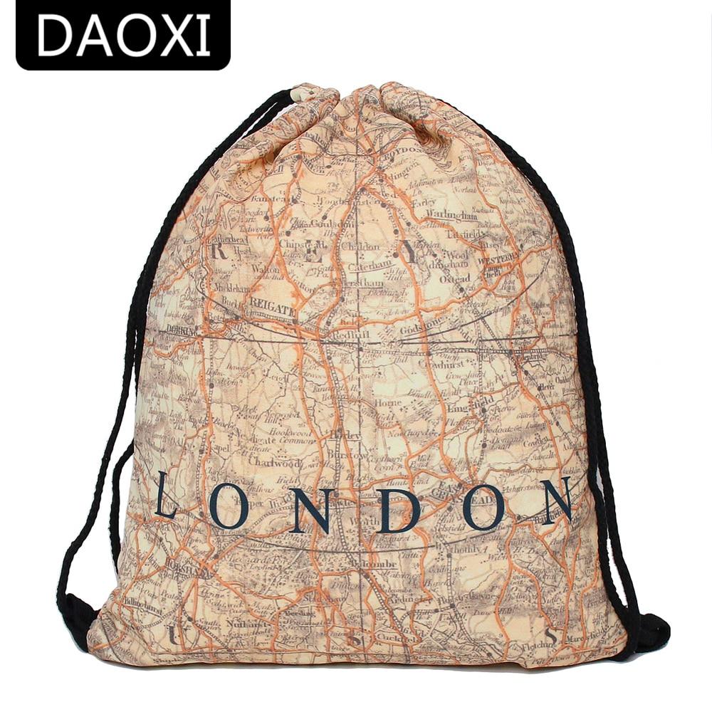 DAOXI Drawstring Bags 3D Printing Map Pattern Unisex Backpacks for Travelling YY10187 drawstring bags