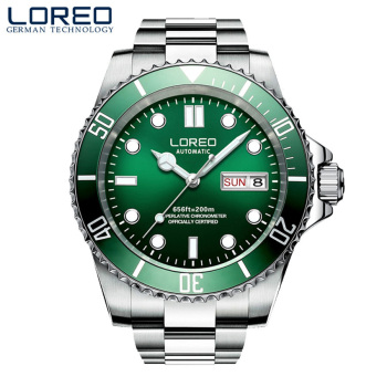 LOREO 2019 Watch Men Top Brand Luxury Military Army Sports Casual Waterproof 200m Mens Watches Mechanical Clock Rotating bezel loreo mens watches top brand luxury business automatic mechanical watch men sport submariner waterproof 200m steel clock 2018