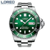 LOREO 2019 Watch Men Top Brand Luxury Military Army Sports Casual Waterproof 200m Mens Watches Mechanical Clock Rotating bezel