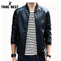 TANGNEST Stand Color 2017 Autumn PU Leather Cool Fashion Jacket 4 Colors Casual Asian Size Soft Leather Jacket MWP297