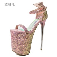 2018 Plus Size 34 43 Summer Style 19cm Pink Sexy Ultra High Platform Heels Sandals For