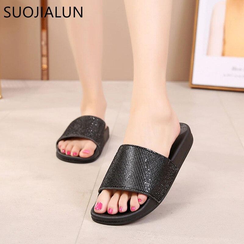 Rhinestone Women Slippers Flip Flops Summer Women Crystal Diamond Bling Beach Slides Sandals Casual Shoes Slip On Slipper
